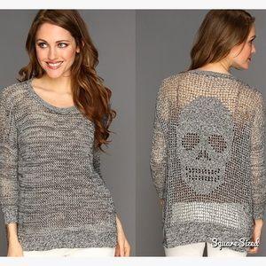 NWT Autumn Cashmere Hand Crochet Skull💀 Hi Lo